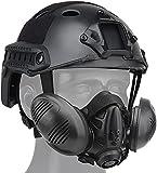 Casco Rápido Ajustable Táctico Tipo PJ Y Máscara Protectora Airsoft con Respirador, Equipado con Rieles Laterales Y Soporte Protector NVG Multifuncional