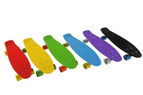 Clamaro 'Shorty 55' Skateboard 55 cm - Retro Mini Cruiser Shortboard mit gegossenem Griffprofil für mehr Grip und hohe Stabilität - Gelb