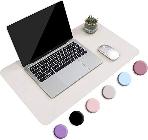 """Non-Slip Desk Pad,Mouse Pad,Waterproof PVC Leather Desk Table Protector,Ultra Thin Large Desk Blotter, Easy Clean Laptop Desk Writing Mat for Office Work/Home/Decor (Apricot Gray, 23.6"""" x 13.7"""")"""