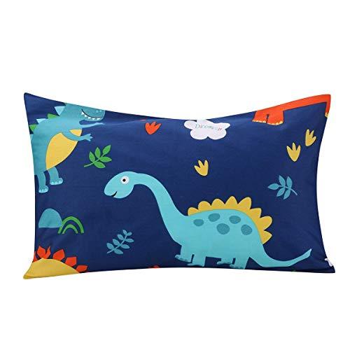 JISENキッド幼児枕カバー1パック100%天然コットン枕カバー封筒付き33x46cm Dinosaur1 1パック