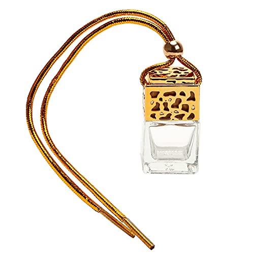 TL TONGLING Botella Colgante Botella de Vidrio vacía Compatible con aceites Esenciales Difusor AVEN ACENDIENTE RETERVIO Espejo ADMENTE DE Coche DE Coche (Color : Oro, Size : Gratis)