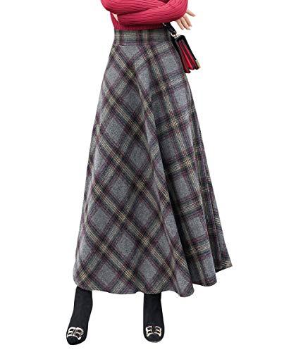 BiilyLi Damenrock A-Linie, eleganter Maxirock kariert gestreift, mit hoher Taille, Wollrock mit elastischem Bund, für Herbst und Winter Gr. 46, Hellgrau kariert