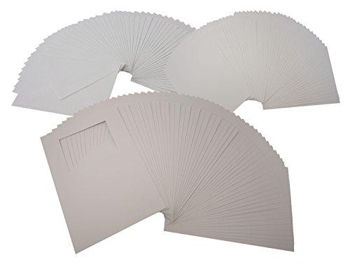 folia 8768 - Passepartoutkarten mit rechteckigem Ausschnitt, weiß, DIN A6, 50 Karten und Kuverts - ideal zum kreativen Gestalten von Einladungen, Glückwunschkarten