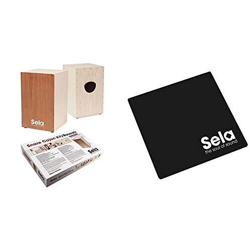 Sela SE 001 Snare Cajon Bausatz zum selber bauen, Drum Box mit Sela Snare System, Cajon Schule und CD & SE 006 Cajon Pad Black, Sitzauflage, Sitzkissen, Polster für Cajons (Maße 26x26 cm)