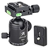 Ball Head Camera Tripod Ball Head Mount 36MM Ball Diameter ARTCISE NB36 Metal CNC 360 Degree Rotating Panoramic 1/4' Screw 3/8' Hole with Two 1/4' Quick Release Plates, Max Load 33lbs/15kg