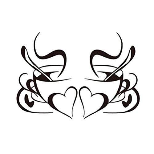 WINOMO 2pcs Adesivi murali della Parete della Tazza di caffè Decalcomanie smontabili del Vinile del Vinile di DIY per la Cucina Living Room Cafes Ristorante Wall Decor - Nero