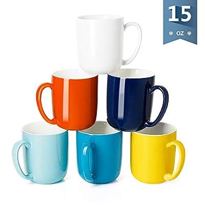 Sweese 604.002 Porcelain Mugs for Coffee, Tea, Cocoa, 15 Ounce, Set of 6, Hot Assorted