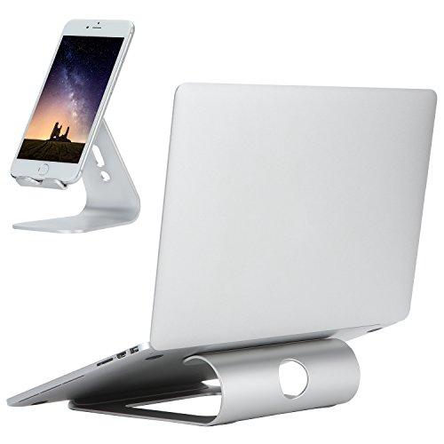 DRROT Aluminium Laptop Ständer Halter für 11-15 Zoll Notebooks mit Handy Ständer Splitter Farbe Büro Verwendung Business Geschenk