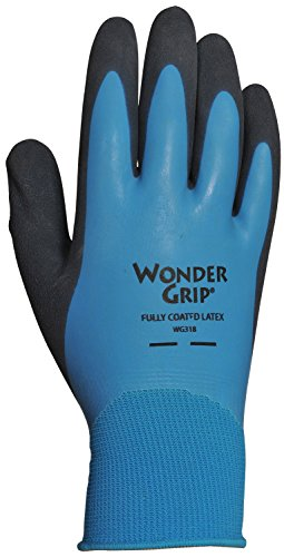 Wonder Grip WG318XL Liquid-Proof Double-Coated/Dipped Natural Latex Rubber Work Gloves 13-Gauge Seamless Nylon, X-Large, Black/Blue
