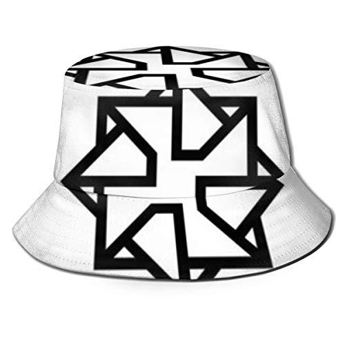 Sombrero de Cubo único para Mujeres y Hombres Sombrero de Golf de Pescador Gorra Plegable Sol/Protección contra la Lluvia Estampado Origami Forma Icono Flor Negro