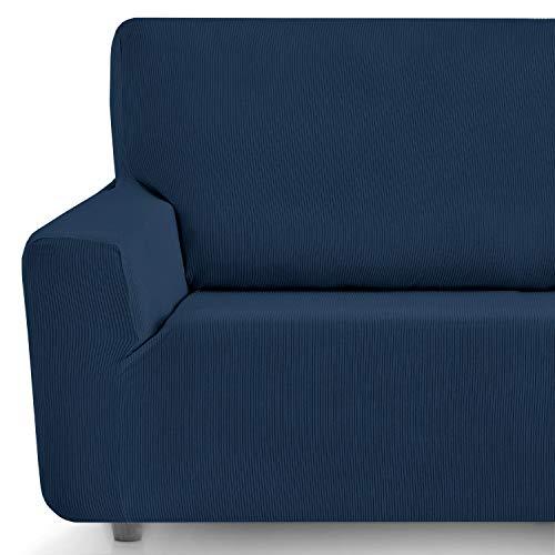 Eiffel Textile Funda Sofa Elastica Protector Adaptable Rústica Sofá, 94% Poliéster, Azul, 3 Plazas (180-240 cm)