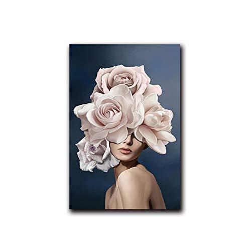 Rosa weiße Blume Dame Poster Persönlichkeit Modedruck Leinwand Malerei Wandbild Wohnzimmer Dekor 40x60cm
