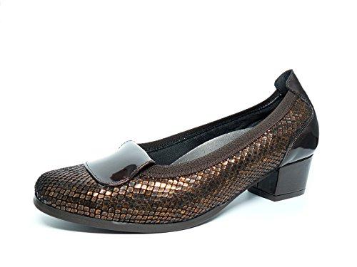 Comfortabele salonschoenen voor dames, Doctor Cutillas – uitneembare binnenzool – leder reliëf, elastisch, met Charol Corston, verkrijgbaar in de kleuren zwart en bruin – 81044 – 66