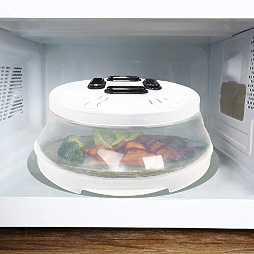 LHOTSE Folding Microwave Splatter Cover for Food Magnetic Splatter Collapsible Vented Plate Cover, Fruit and Vegetable Filter 10.5 Inches and BPA Free - White