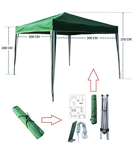 KFD-Toaks Pavillon 3x3 Grün, Gartenpavillon, Falt-Pavillon, Gazebo, Pop-up Einteiliger Integrierter Stahl-Rahmen + 180 g/m² Polyester-Dach, für Den Außenbereich