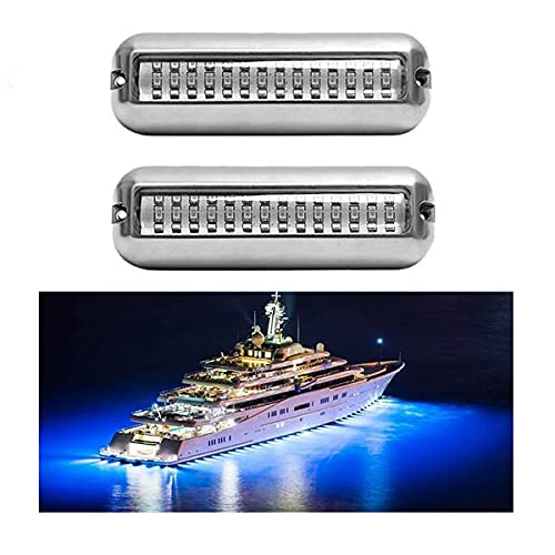 Kamenda 2 Piezas 42LED Luz de Drenaje del Barco Luz de Travesaao del Barco Azul PontóN Submarino Luz Marina