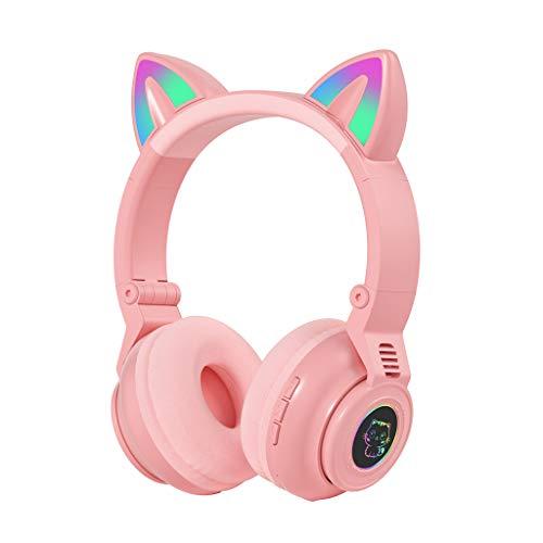 Yuwe Auriculares inalámbricos sobre la oreja, auriculares de alta fidelidad Auriculares para juegos con orejas de gato Auriculares Bluetooth plegables Micrófono incorporado con luz LED, estilo en la o