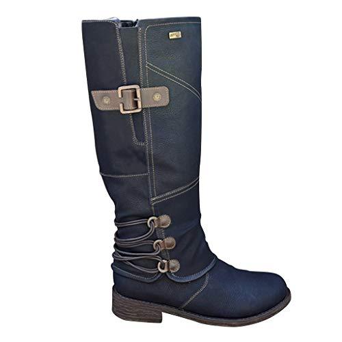 Scarpe da Donna Stivaletti Stivali Donna Moda Casual Tacchi Quadrati Scarpe Lunghe alla Caviglia (42,Nero)