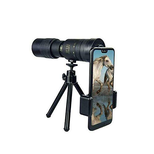 Telescopio monocular con Zoom superteleobjetivo 4K 10-300X40Mm, Lente de teléfono Celular HD con Soporte para teléfono Inteligente, trípode, teléfonos Inteligentes compatibles Viajes turísticos (con