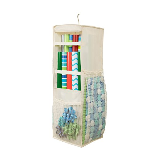 HomeCrate Hanging Wrapping Paper and Bow Organizer with 6 Mesh Compartments 11