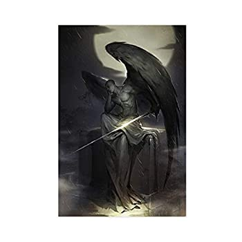 Lucifer Art Black And White Collection Fallen Angel Art The Myth of Posters Canvas Poster Bedroom Decor Sports Landscape Office Room Decor Gift 24×36inch 60×90cm  Unframe-style1