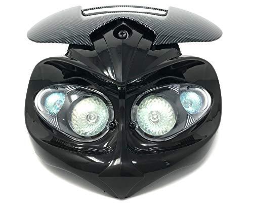 Motorrad Scheinwerfer & Klammern für Streetfighter Maßgefertigt Projekt Motorrad - Carbon Optik