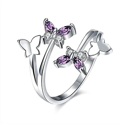 Anillos femeninos de alas de cristal de mariposa ajustables para mujer, joyería para niñas, alianzas de boda, anillo de oro rosa para fiesta de moda