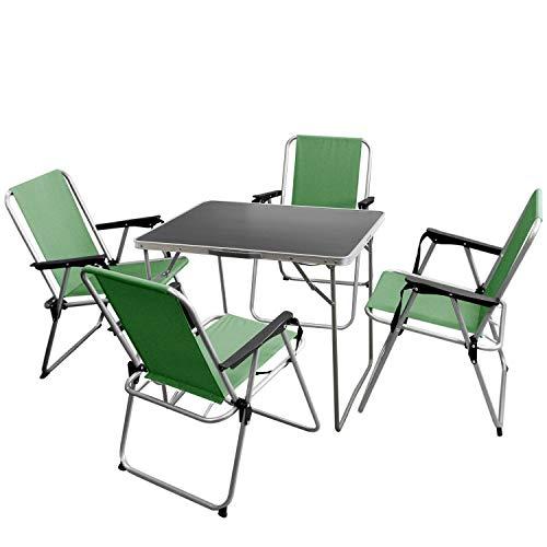 Multistore 2002 5tlg. Campingmöbel-Set Klapptisch 80x60cm Silber/Grau + 4 Klappstühle Silber/Grün klappbar Strandmöbel Gartenmöbel Balkonmöbel