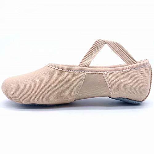 s.lemon Hoch Elastische Leinwand Ballettschuhe Balletschläppchen Tanzschuhe für Kinder Mädchen (39 EU)