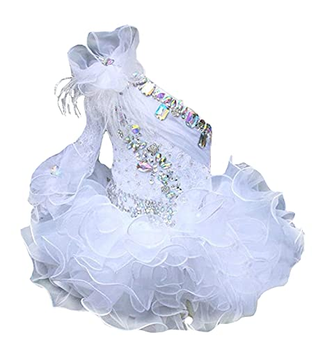 Junguan Infant Girls Wedding Party Gowns Newborn Pageant Tutu Cupcake Dress 5 US White