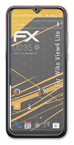 atFolix Panzerfolie kompatibel mit Wiko View4 Lite Schutzfolie, entspiegelnde & stoßdämpfende FX Folie (3X)