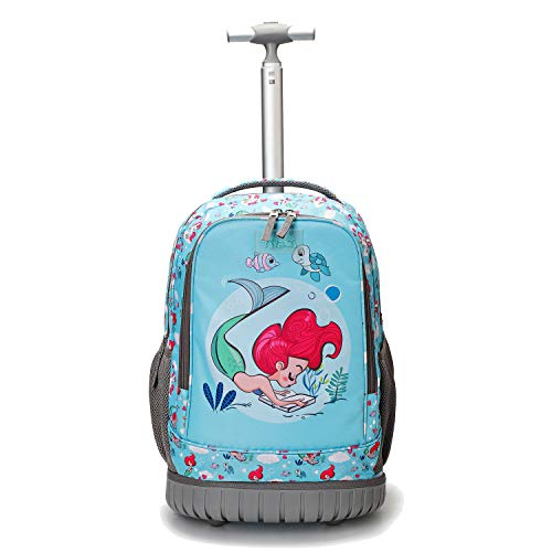 Tilami Rolling Backpack 19 inch Wheeled Cute LAPTOP Boys Girls Travel School Student Trip, Mermaid