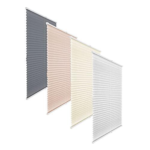 Victoria M. Elegance Plissee Faltstore Faltrollo, Lichtdurchlässig, Pflegeleichter Hochwertiger Polyester-Stoff, Feuchtraumgeeignet, 90 x 200 cm, Weiß