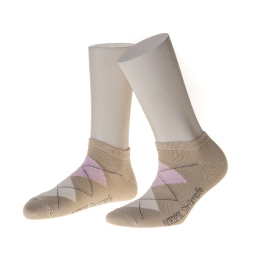 NORDPOL Sneaker-Socken im Argyle Design aus Baumwolle, 3 Paar, beige, Made in Germany, Gr. 39-42