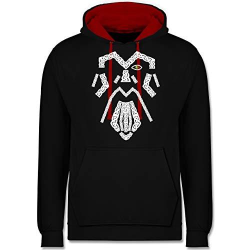 Shirtracer Nerds & Geeks - Wikinger Odin grün - 3XL - Schwarz/Rot - Hoodie la Familia - JH003 - Hoodie zweifarbig und Kapuzenpullover für Herren und Damen