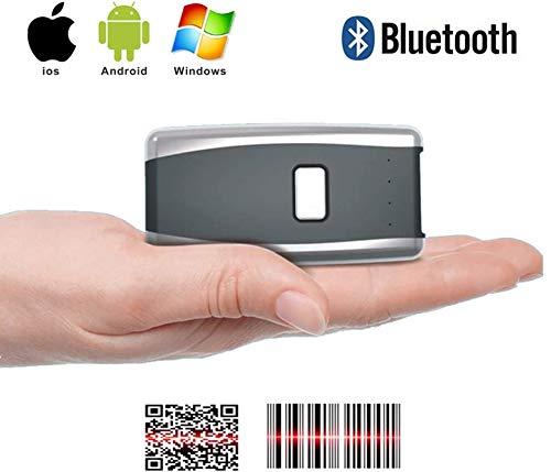 Knoijijuo Bluetooth Scanner De Poche sans Fil, Supermarché, Entrepôt, Logistique Code-Barres QR Code Scanner Compatible avec Les Systèmes Windows Android iOS