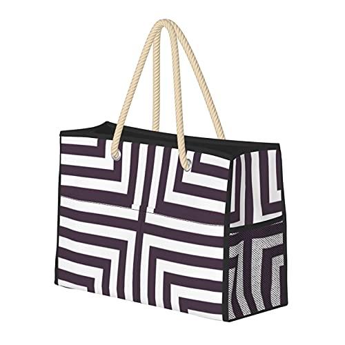 Bolsa de playa grande y bolsa de viaje para mujer – Bolsa de piscina con asas, bolsa de semana y bolsa de noche – Patrón de caja púrpura y blanco