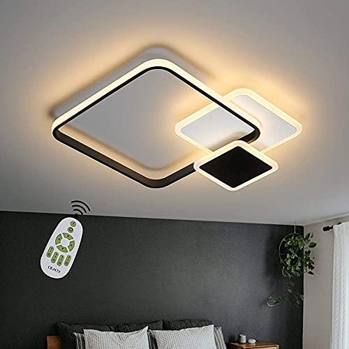 AINIM Lámpara De Techo Led Lámpara De Techo Sala De Estar Dimmable Moderno Diseño Cuadrado Lámpara De Dormitorio con Control Remoto Blanco Y Negro(Color:Cuadrado)