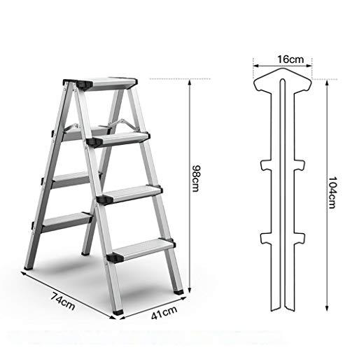 4-Escalera Plegable, Plegable Kitchen Paso de heces, de Aluminio Ligero de escaleras de Mano, de Tipo Banco de Trabajo de los hogares con Anti pies de Deslizamiento, en Las Dos Caras 2 x 4 Etapas