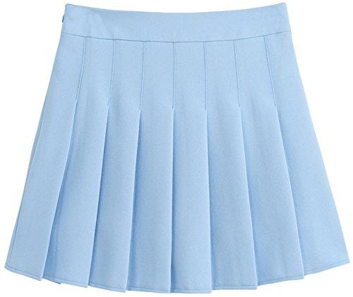 chouyatou Women's Simple High Waist All Around Pleated A-Line Skirt (Small, LBlue)