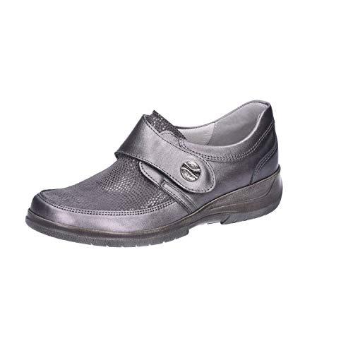 Stuppy Damen Schuhe grau metallic Halbschuhe Leder Stretch Wechselfußbett 10965, Größe:38.5 EU