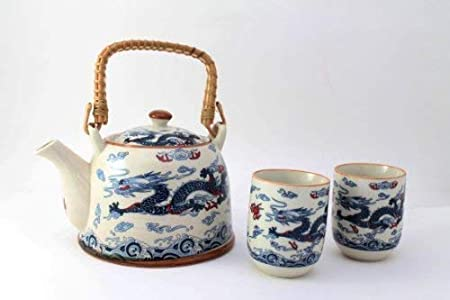 Dragon Chinese Tea Pot and 2 Tea Cup Set Infuser Teapot Yellow mix styles