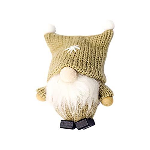 Sayla Handgemachte Wichtel Santa Dolls süße Weihnachten Tomte Nisse Figur aus Weihnachtsfigur Dwarf schöneren Weihnachts Deko für Home Schaufenster Kinder Geburtstag Weihnachten 10x4CM (Khaki)