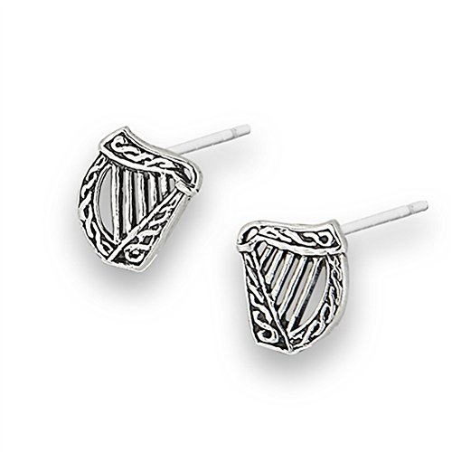 Celtic Weave Oxidized Harp Rope Twist .925 Sterling Silver Musical Instrument Stud Earrings