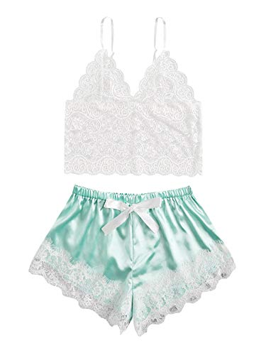 WDIRARA Women's Floral Lace Cami Top with Shorts Sleepwear Sexy Lingerie Pajama Set White and Light Green XL