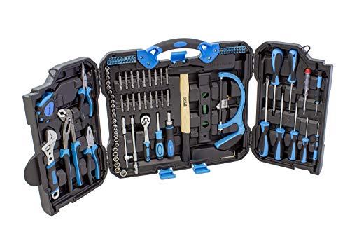 Karcher Werkzeugkoffer - 110-teiliges Werkzeugset aus Chrom Vanadium & Karbonstahl mit Hammer, Schraubendreher, Steckschlüssel, Wasserwaage, Säge uvm.