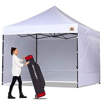 ABCCANOPY Heavy Duty Ez Pop up Canopy Tent with Sidewalls 10x10 White