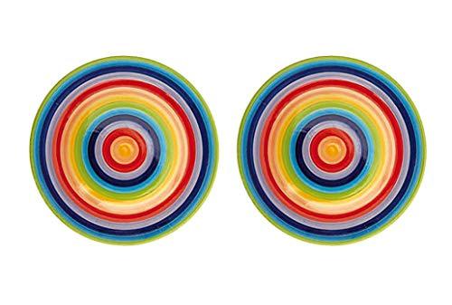 Windhorse Speiseteller aus Keramik, gestreift, Regenbogenfarben, 26 Durchmesser (2 Teller)