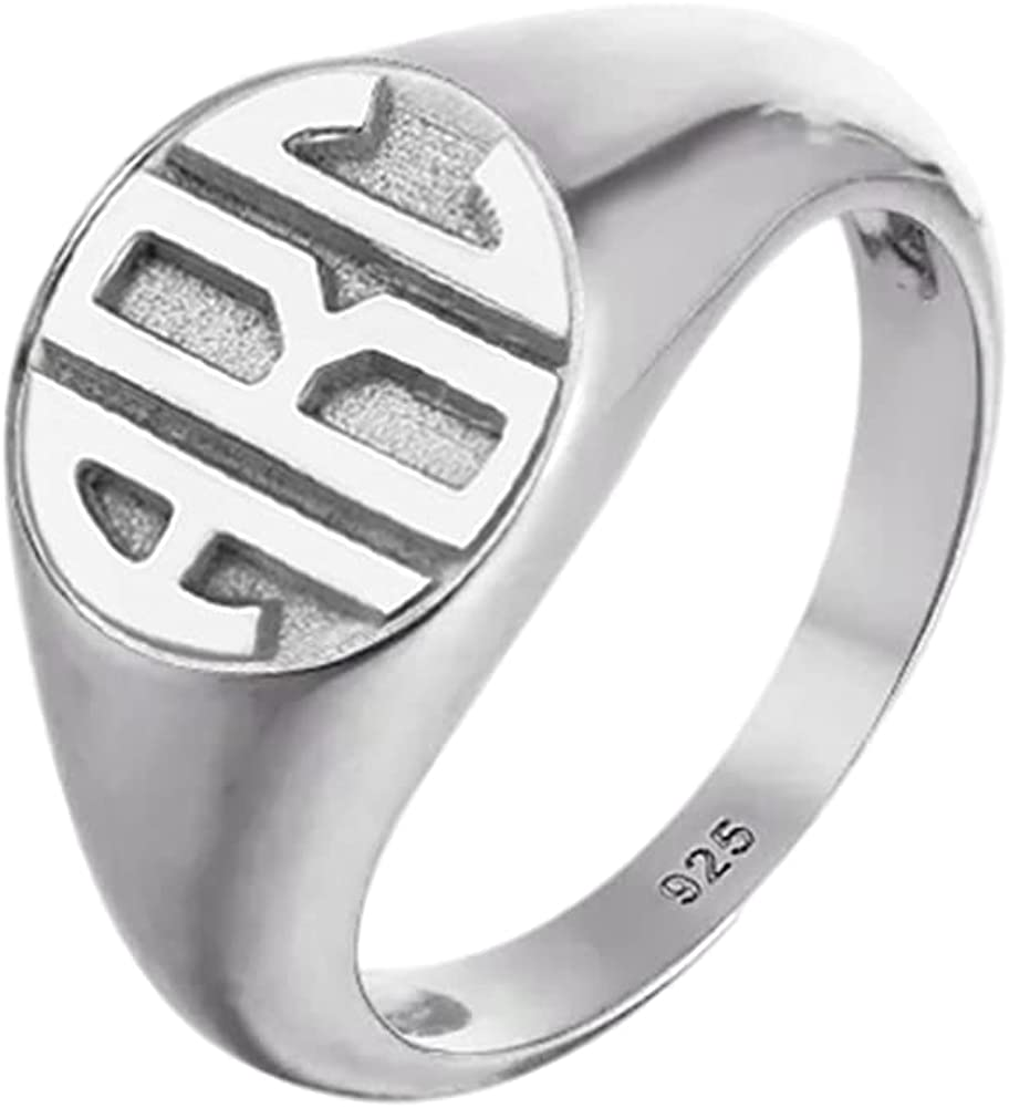 Columbus Mall Elefezar 925 Silver Sterling Signet Spring new work one after another Letter Monogram Personalized