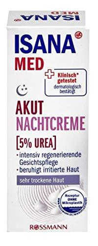 Akut Nachtcreme (Mit 5% Urea) - Für Intensive Regeneration und spürbar weichere Haut - lindert den durch trockene Haut verursachten Juckreiz - 50 ml